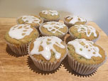 Iced courgette muffins