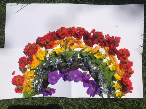 Rainbow made from flowers and leaves